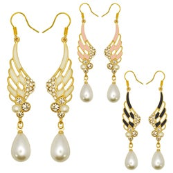 Kate Marie Goldtone Faux Pearl and Enamel Wing Design Earrings