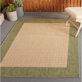 Pergola Quad Natural-Green Indoor/Outdoor Area Rug - 5'10 x 9'2