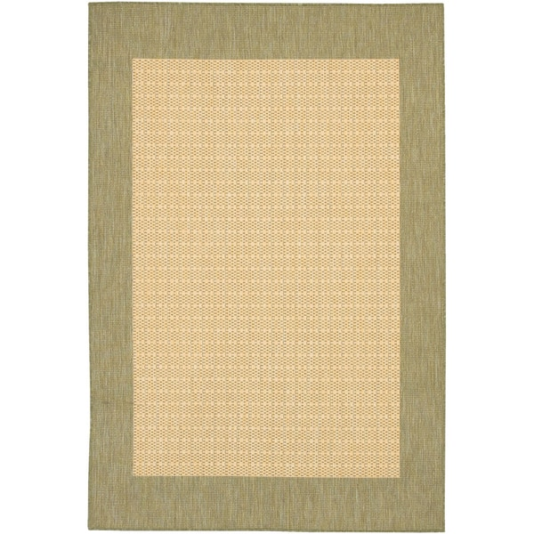 Power-Loomed Pergola Quad Natural/Green Polypropylene Rug (5'10 x 9'2)