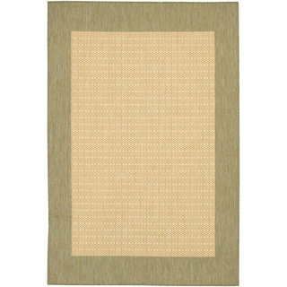 Recife Checkered Natural/ Green Rug (5'3 x 7'6)