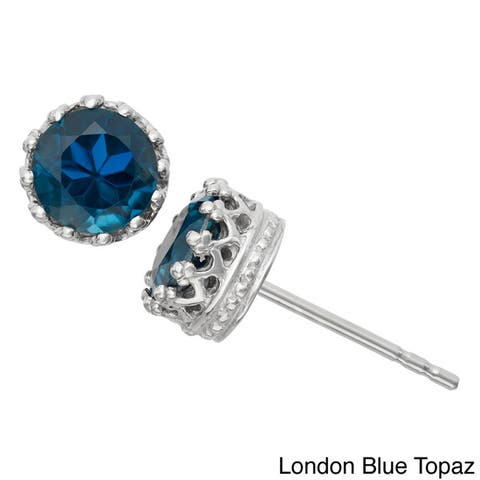 Gioelli Tiara Collection Sterling Silver 6mm Round Gemstone Crown Earrings