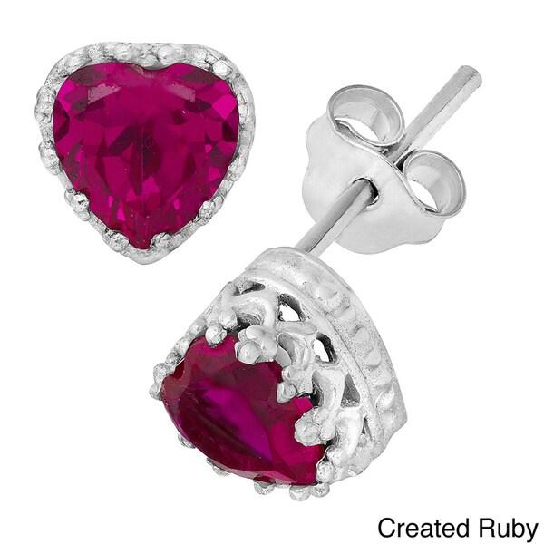 Gioelli Tiara Collection Sterling Silver 6mm Heart Gemstone Crown Earrings
