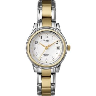 Timex T257719J Women's Elevated Classics Dress Two-tone Steel Bracelet Watch|https://ak1.ostkcdn.com/images/products/7723646/7723646/Timex-Womens-Elevated-Classics-Dress-Two-tone-Steel-Bracelet-Watch-P15126269.jpg?impolicy=medium