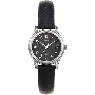 Timex Women's T29291 Porter Street Black Leather Strap Watch - silver