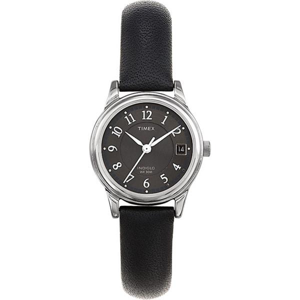 Timex Women's T29291 Porter Street Black Leather Strap Watch - silver