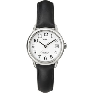 Timex T2H3319J Women's Easy Reader Black Leather Strap Watch