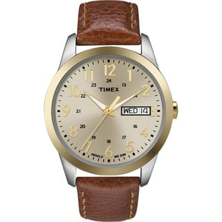 Timex T2N1059J Men's Elevated Classics Dress Brown Leather Strap Watch