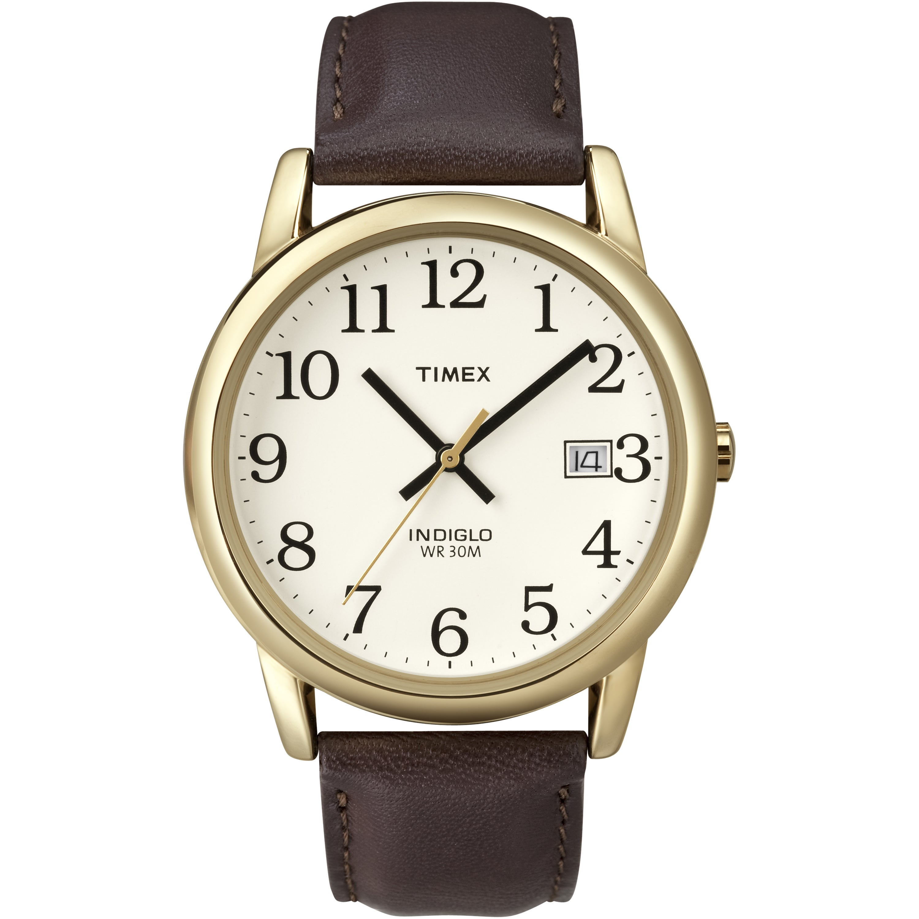 Timex T2N3699J Men's Easy Reader Brown Leather Strap Watc...