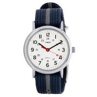 Timex Men's T2N654 Weekender Blue/ Grey Stripe Nylon Strap Watch