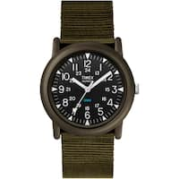 Timex Men's T41711 Expedition Camper Black/Green Fabric Strap Watch