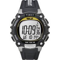 Timex  Men's Ironman Traditional 100-lap Black/ Yellow Watch - black