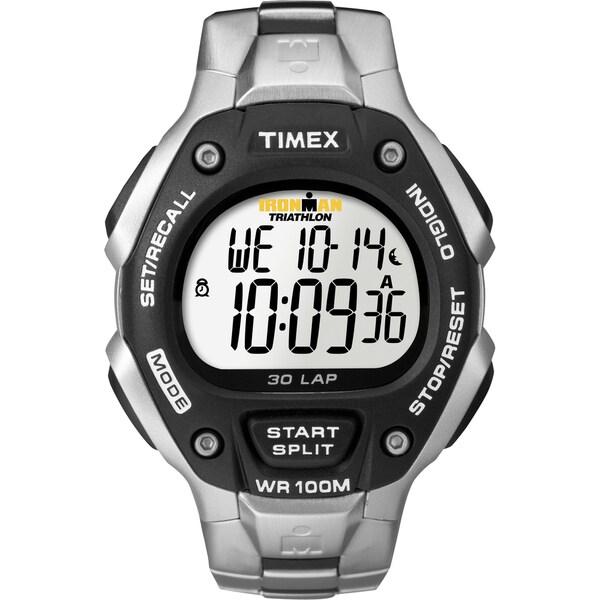 Timex T5H9719J Men's Ironman Traditional 30-lap Black/ Silvertone Steel Bracelet Watch