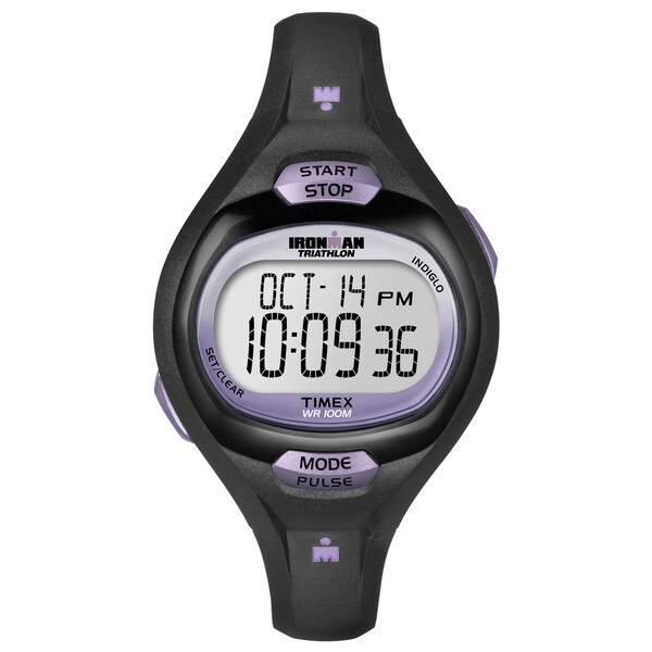 Timex T5K1879J Women's Ironman Pulse Calculator Black/ Purple Resin Watch