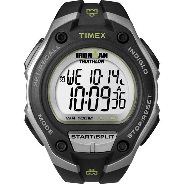 Timex T5K4129J Men's Ironman Traditional 30-lap Mega Black/ Silvertone Watch