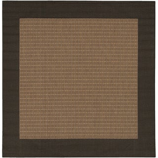 Power-Loomed Pergola Quad Cocoa/Black Polypropylene Rug (7'6 Square)