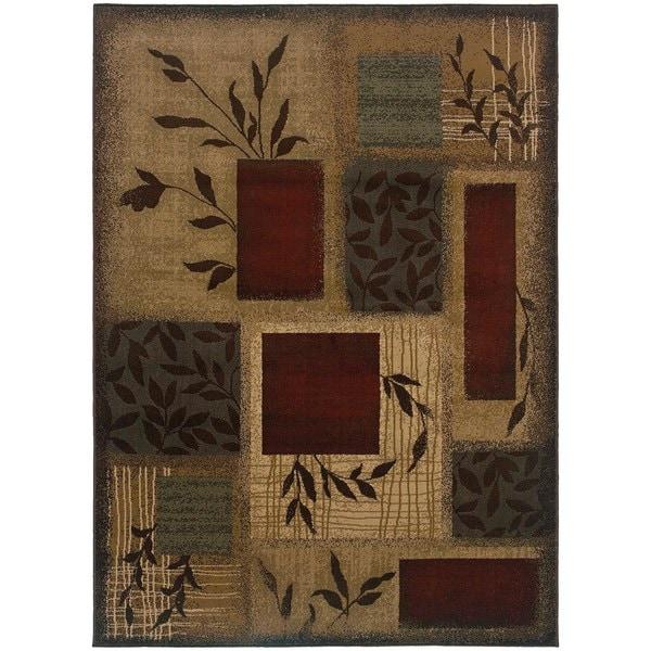 Indoor Beige/ Red Area Rug (9'10 x 12'9)