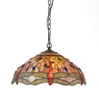 Chloe Tiffany Style Dragonfly Design 3-light Pendant