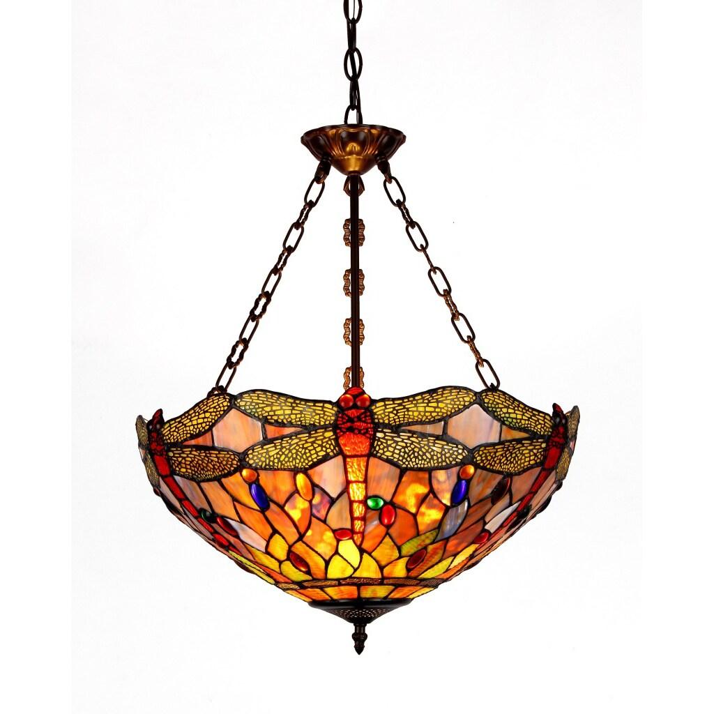 Chloe Dragonfly Design 3-light Inverted Pendant, Brown (A...