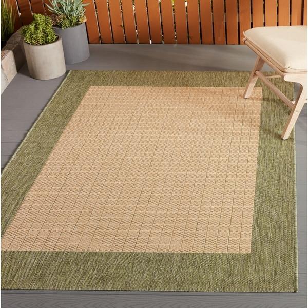 Pergola Quad Natural-Green Indoor/Outdoor Area Rug - 3'9 x 5'5