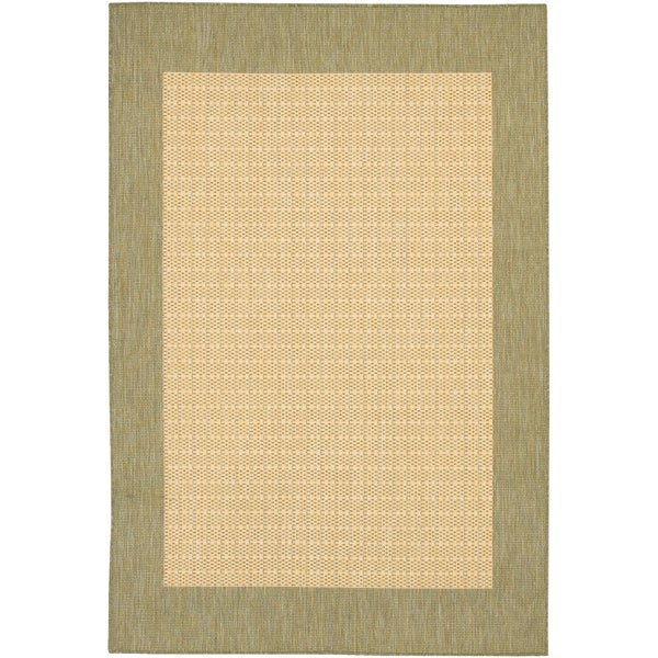 Recife Checkered Natural/ Green Rug (3'9 x 5'5)