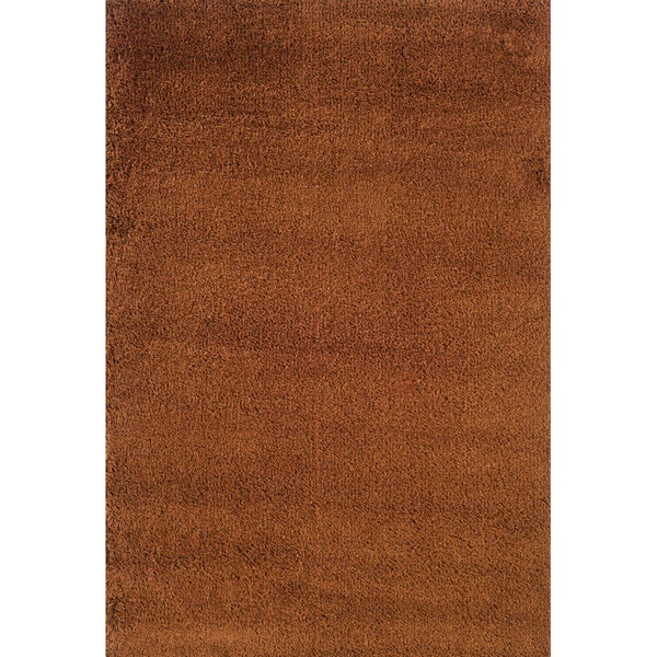 "Indoor Rust/ Brown Shag Area Rug (9'10 x 12'7) - 9'10"" x 12'7"""
