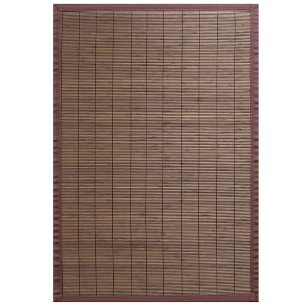 Espresso Rayon from Bamboo Rug with Brown Border (6' x 9')