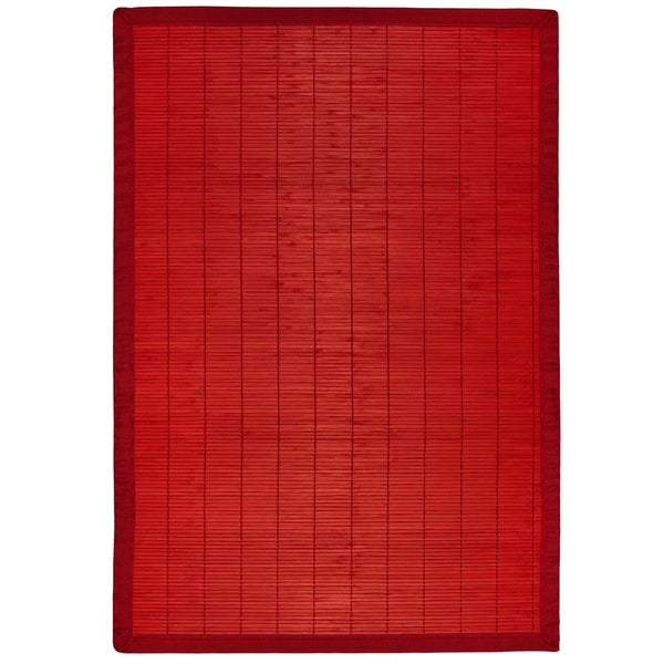 Red Rayon from Bamboo Rug with Red Border (6' x 9')