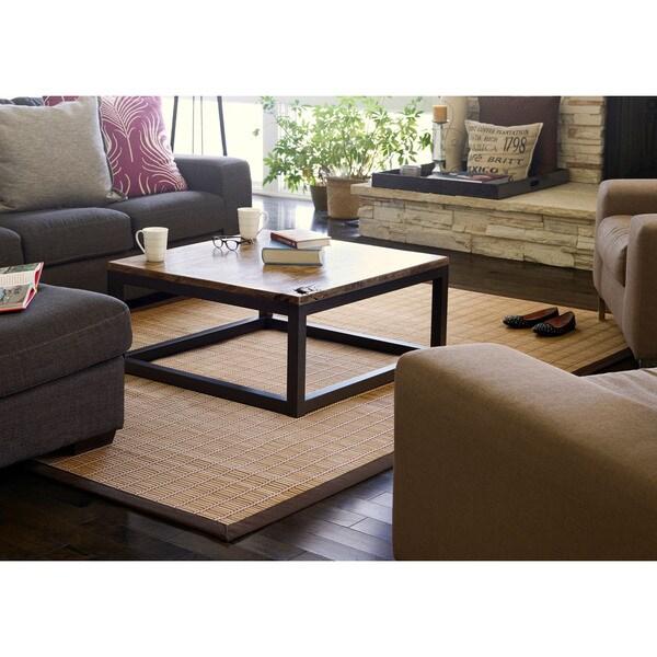 Jani Zenith Bamboo Rug with Brown Border - 6' x 9'