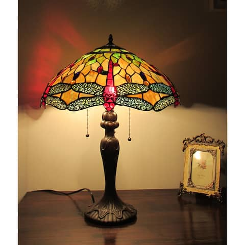 Tiffany Style Dragonfly Design 3-light Table Lamp