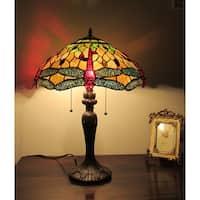 Chloe Tiffany Style Dragonfly Design 3-light Table Lamp