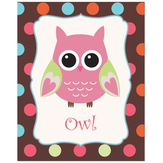 Rose Color Owl with Polka Dot Background Art Print
