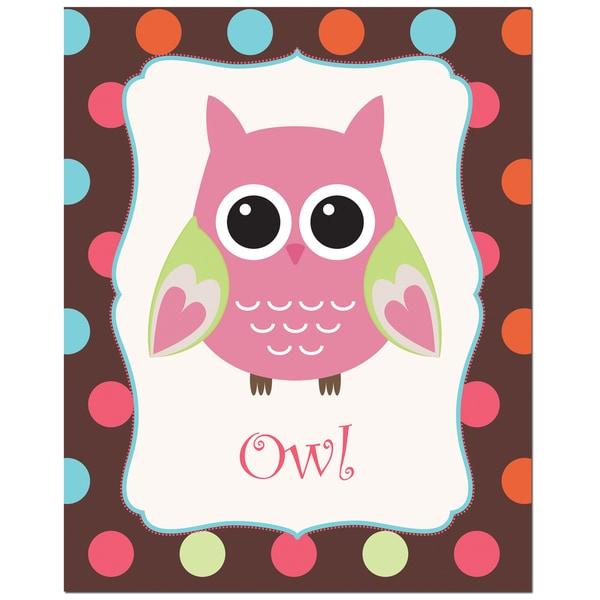 Rose Color Owl with Polka Dot Background Art Print