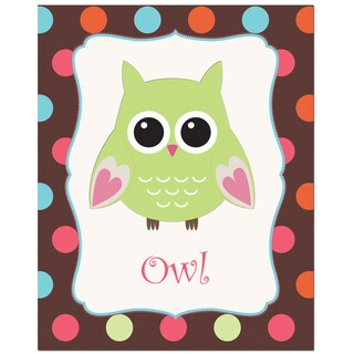 Lime Green Color Owl with Polka Dot Background Art Print