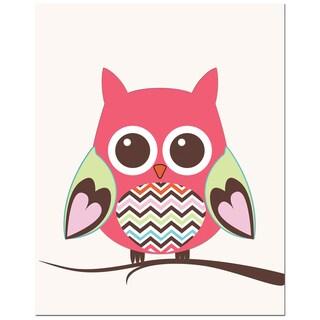Zig-zag Belly Owl on Tree Art Print