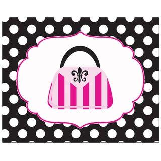 Fashion Striped Handbag with Polka Border Art Print
