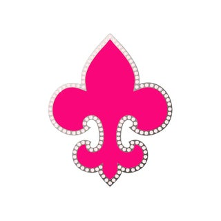 Secretly Designed 'Hot Pink Bling Fleur De Lis' Unframed Art Print