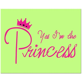 Secretly Designed 'Yes, I'm the Princess' Unframed Lime Green Art Print