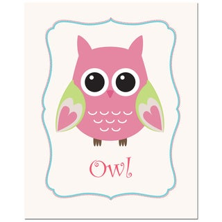 Secretly Designed 'Rose Solid Color Owl' Unframed Art Print