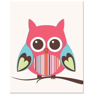 Secretly Designed 'Stripe Belly Owl on Tree' Unframed Art Print
