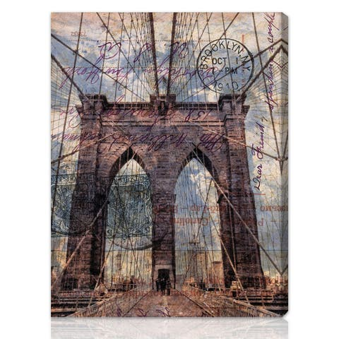 Oliver Gal 'Brooklyn Bridge' Architecture and Buildings Wall Art Canvas Print - Brown, Blue
