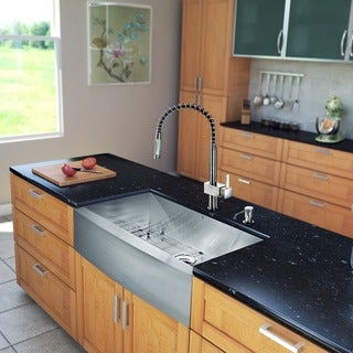 VIGO All-in-One 36-inch Stainless Steel Farmhouse Kitchen Sink and Lincroft Stainless Steel Faucet Set