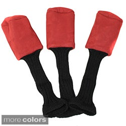 Pro Source Long Neck Suede Leather Golf Club Headcovers (Set of 3)