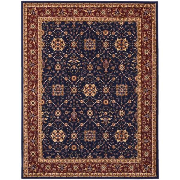 Anatolia All Over Vase/ Navy-Red Area Rug (5'3 x 7'6)