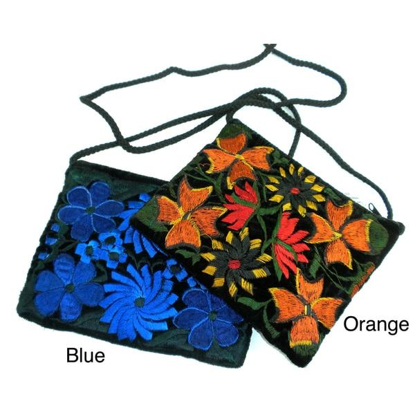 Handcrafted Floral Velvet Long Strap Makeup Bag (Guatemala)