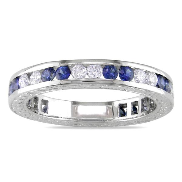 Miadora 18k Gold Sapphire and 1/2ct TDW Diamond Ring (G-H, I1-I2)