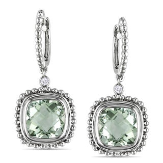 Miadora 10k Gold Green Amethyst and Diamond Accent Earrings