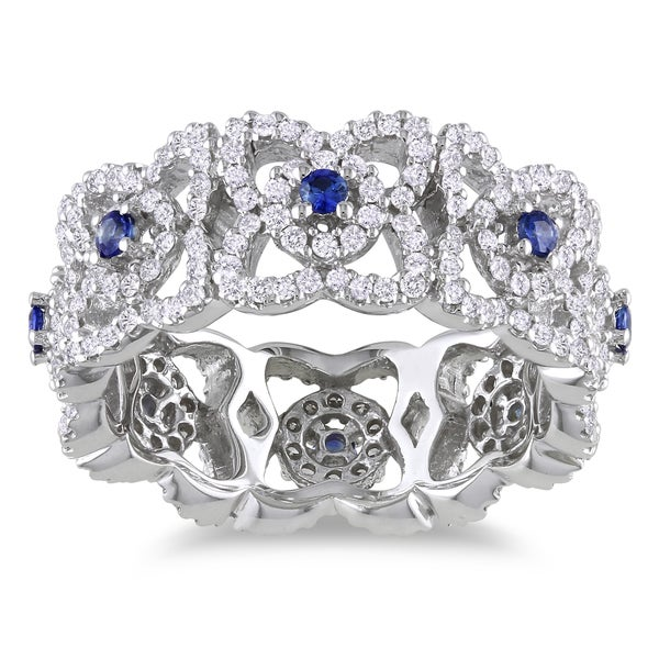 Miadora 14k White Gold 1ct TDW Diamond and Sapphire Ring (G-H, SI1-SI2)
