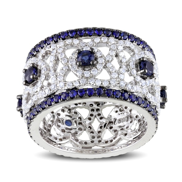 Miadora 14k White Gold Sapphire and 1ct TDW Diamond Ring (G-H, SI1-SI2)