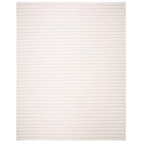 Safavieh Hand-woven Dhurrie Flatweave Cream Stripe Wool Rug - 8' x 10'