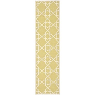 Safavieh Hand-woven Moroccan Reversible Dhurrie Olive Wool Rug (2'6 x 8')